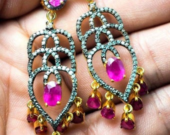 Gorgeous Luxury Natural Pink Ruby Diamond Pave 22K Gold Dangle Heart Earrings  , gift for her , Anniversary gift