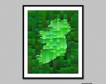 Ireland Map Glasa - a map of Ireland art print by elevencorners - wall decor - map decor - irish map print - ireland poster - map art print