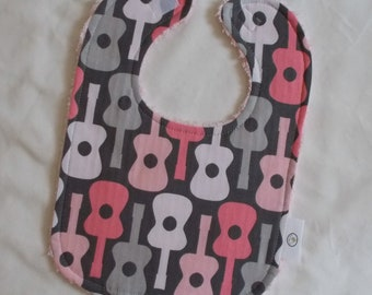 Pink Groovy Guitars and Chenille Boutique Bib - SALE