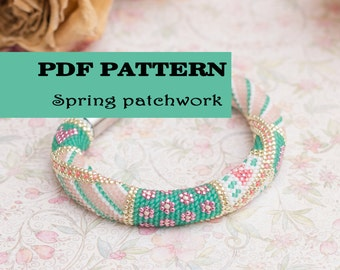 Beaded crochet bracelet pattern - Seed beads rope pattern - Crochet bangle - Jewelry pattern - Geometry design - Green Pink Bangle