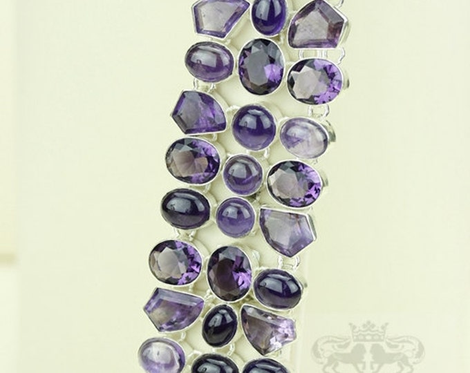 Combination of Faceted and Cabochon Genuine AFRICAN AMETHYST 925 S0LID Sterling Silver Bracelet & FREE Worldwide Express Shipping B1729