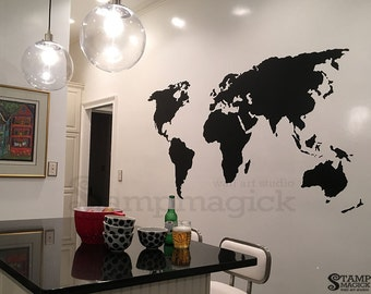 Vinyl wall decals for nursery home and office by stampmagick world map decal world map wall decor black or choose color 45 or 58 tall wall decal art chalkboard vinyl sticker home decor k378 gumiabroncs Images