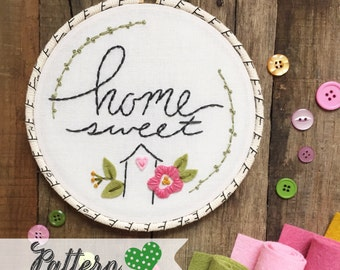 Home Sweet House digital hand-embroidery pattern