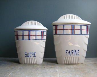 2 vintage French ceramic storage jars, storage cannisters, farine, sucre, sugar and flour jars, vintage kitchen,retro kitchen
