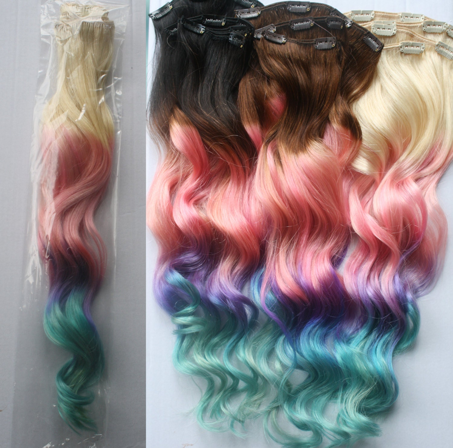 Full Set 100 Grams Bundle Clip In Pastel Hair Extensions