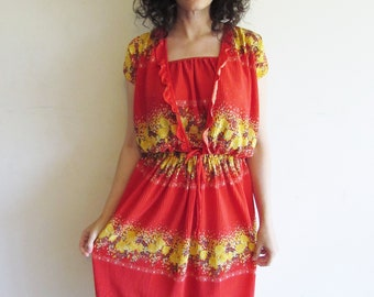 Vintage Red and Yellow Accordion Floral 3pc Tank Top Shirt Skirt 70s Outfit