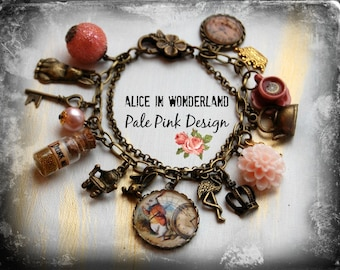 Alice in Wonderland Jewellery bracelet  handmade Gift-Pale Pink-eat me drink me mini glass bottle Fimo