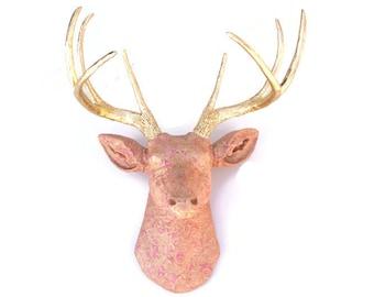 Fabric Deer Head - Goldilocks Princess Deer - Faux Taxidermy Deer Head Wall Mount - Luxurious Elegant Pink and Gold Fabric Deer-FAD0508
