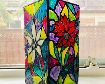 Gerbera Faux Stained Glass Vase