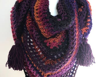 Crochet Scarf || Triangle Scarf ||Triangle shawl ||Multicolour Shawl Tassels|| Tassel Triangle Scarf||Crochet Shawl