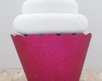 Hot Pink Glitter Cupcake Wrappers - Dessert Holders - Standard and Mini - Birthdays, Weddings, Showers Parties- Dessert Table - Set of 12