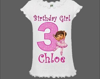Dora the Explorer Birthday Shirt - Dora Ballerina Shirt