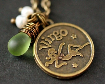 Virgo Necklace. Zodiac Necklace. Sun Sign Charm Necklace with Glass Teardrop and Pearls. Handmade Jewelry.