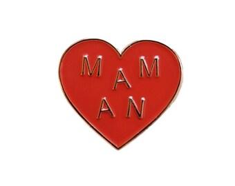 PIN MOM - rot und Golden - Herz Geschenk Muttertag