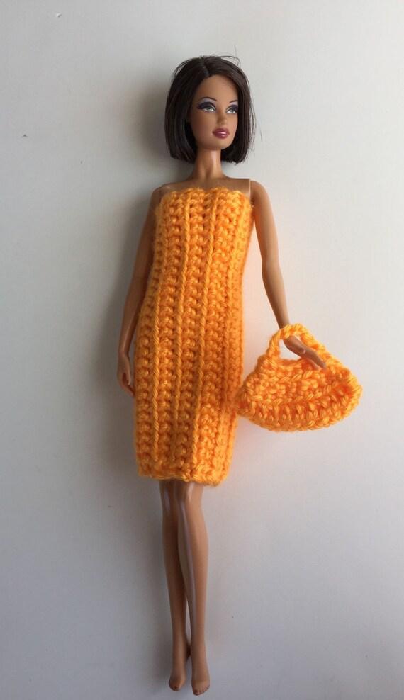 Favorito Barbie vestiti fatti a mano all'uncinetto borsa abito YR62