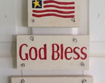 God Bless America Wooden Sign