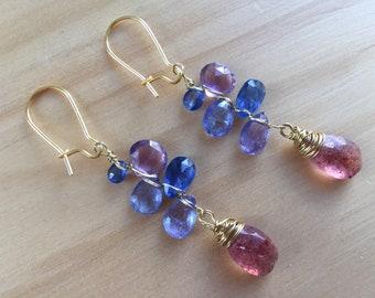 Strawberry quartz, tanzanite, kyanite, Amethyst, mother's day, tanzanite earrings, kyanite, quartz, edges tanzanita strawberry earrings