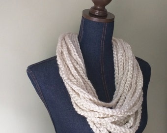 Chain Scarf Necklace / Mid Length / Cream Scarf / Crochet Scarf / Braided Scarf