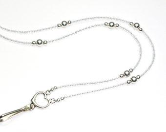 Sterling Silver Breakaway Lanyard Necklace, ID Holder Lanyard For Women, Breakaway Lanyard, Beaded Badge Holder Lanyard for Nurses,