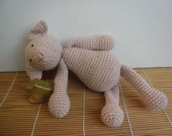 Crochet plush toy pig