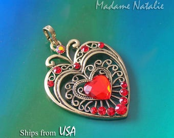 Red Rhinestone Gold Heart Pendant, Big Heart Pendant, Long Sweater Heart Necklace Pendant, Red Crystal Heart, Big Red Heart Pendant