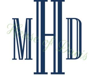 "Vinyl ""Engraved"" Style Monogram Decal"
