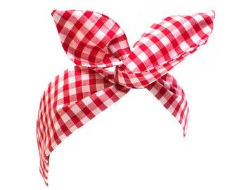 Red and White Gingham Wire Headband, Dolly Bow, 1950s Pin Up Rockabilly Hair Wrap, Twist Hair Scarf, Bandana, Headband, Hair Tie