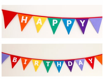 Happy Birthday Rainbow Fabric Bunting Banner Flags Party Decoration