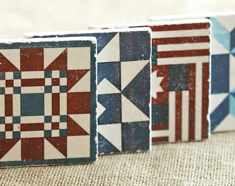 Quilt Decor- Rustic Farmhouse Decor, Farmhouse Gift, Farm, Americana, Decor, Gift, Coaster, Country, Cottage, Red White Blue, USA, Trivet