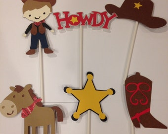 12 cowboy cupcake toppers new*