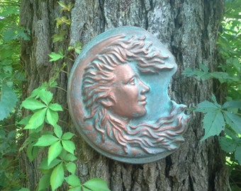 Luna, the Moon Godess is stunning on walls, trees, and columns artwork by Gable Gargoyles.