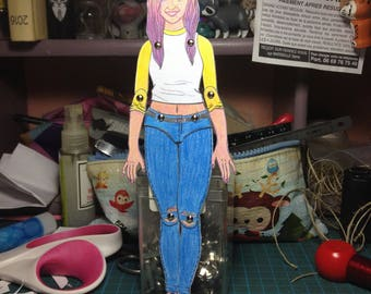 Personalized paper doll portrait, custom made paper doll