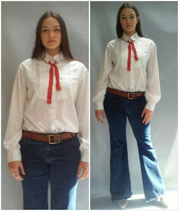 70s bow tie blouse BIB FRONT menswear style medium