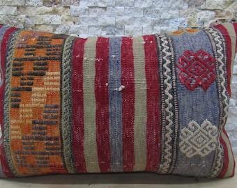 16x24 Pillow Cover Organic Fabric Kilim Rug Turkish Pillow Kelim Pillow Bohemian Pillow Kilim Pillow 16x24 Euro Sham Pillow Floor Pillow