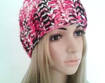 Pink beret Hat hand knit winter Hat covers chef Hat Cap toque, gift idea her sister wife anniversary Christmas