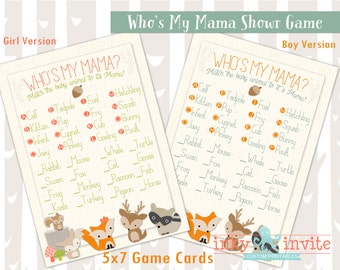 Sweet Woodland Baby Shower Who's My Mama | Forest Friends Baby Shower Games | Woodland Animals Who's my mommy