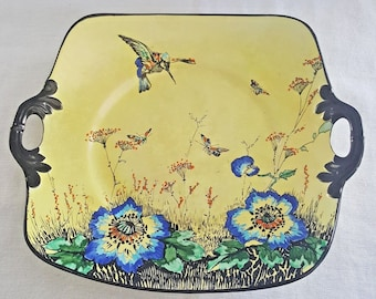 Royal Winton Exotic Grimwades Decorative Hummingbird Serving Plate With Handles BEST OFFER