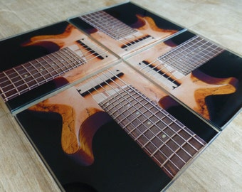 Bass Guitar Coasters ~ Music Coasters ~ Guitar Art Coasters, Music Home Decor, Set of Four Glass Coasters, Gift for Men, Guy Gift, Tableware