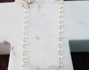 Sterling Silver Rose Quartz Sparkle Necklace