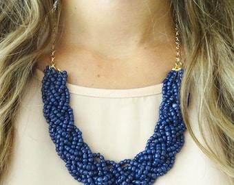 Navy Blue Bold Braid Necklace, Dark Blue Statement Necklace, Bib Necklace, Braided Necklace, Beaded Necklace, Chunky Necklace, Navy Jewelry