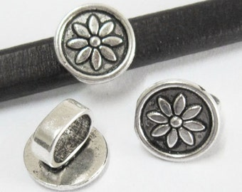 5pcs Lotus disc spacer Licorice leather findings 10x6mm bracelet slider -LF73