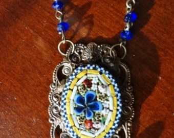Vintage Micro Mosaic Necklace--One of a Kind
