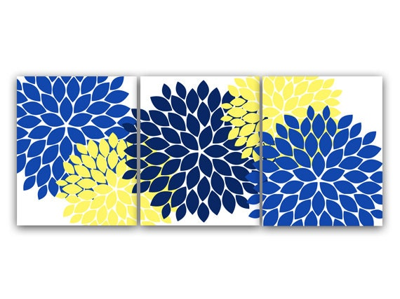Home Decor Wall Art Canvas And Prints Blue And Yellow Flower