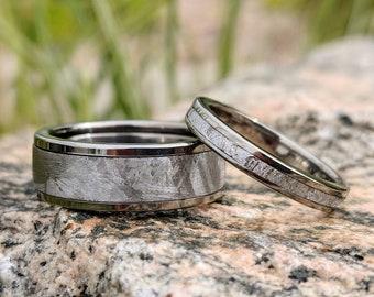 Meteorite Ring in Titanium, Wedding Band Set, Meteorite Titanium Rings Set - USA Made