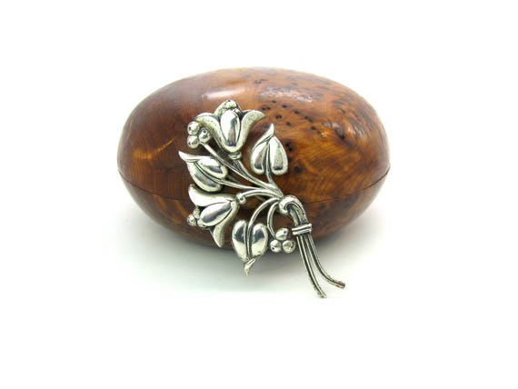 Vintage Nordic Style Bell Flower Brooch Sterling Craft by Coro, 1940's