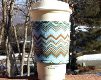 Holiday Sale! Fabric coffee cozy / cup holder / coffee sleeve / can koosie / mason jar cozy - Aqua and Brown Chevron