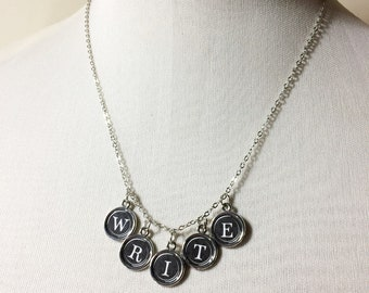 Typewriter Keys Necklace: customized initial, name or text