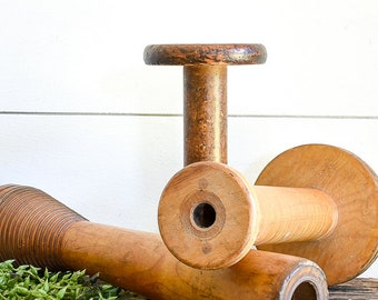 Set of 3 Vintage Wood Spools