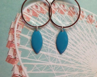 Turquoise lace circle and enamel pendant earrings