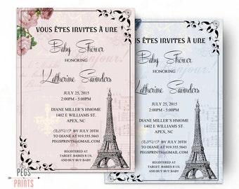 Paris Baby Shower Invitation - Parisian Baby Shower Invitation (Printable) French Baby Shower Invitation Boy or Girl - Shabby Chic Paris